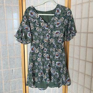 Francesca Floral Sage Green Mini Dress
